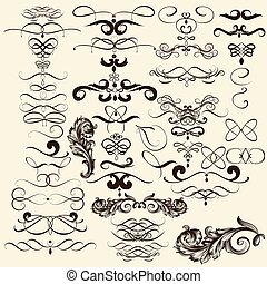 Collection of vector flourishes in - Vector set of...