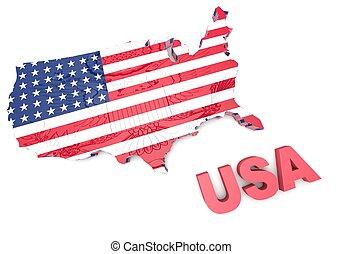 USA., wechselnd, Fahne, in, 3D, abbildung, .,
