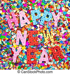 Happy new year in colorful wooden characters on background...