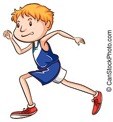 A coloured drawing of a young runner - Illustration of a...