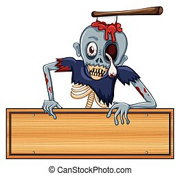 A zombie holding an empty signboard