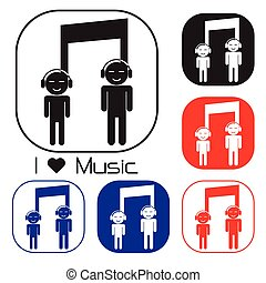 Creative music note sign icon and silhouette people symbol ....