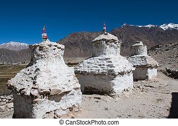 azul,  ibetan, blanco, cielo,  Pagodas
