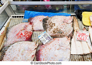 Black sea local fish on urban market, Crimea