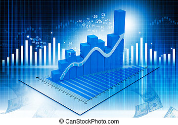 Business graph on abstract financial background - 3d...