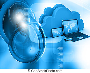 3d render of Electronic Devices with cloud server