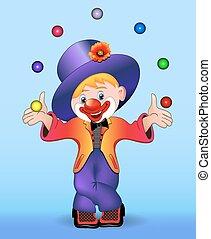 young cheerful clown juggles balls