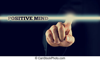 Hand Touching Positive Mind Statement on Touch Screen -...