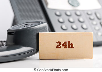 24h telephone support concept - 24h business telephone...