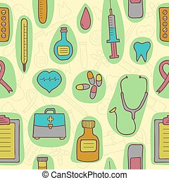 Medical seamless pattern. Isolated elements