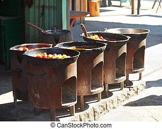 cooking of tatar dishes in outdoor cafe