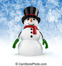 3d happy snowman with black hat and gloves on snowflakes...