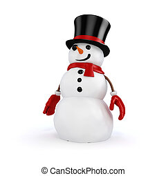 3d happy snowman with black hat and red gloves; on white...