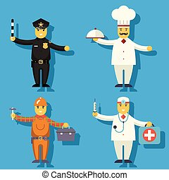 Cartoon Chief Cook Worker Repairer Police Officer Doctor...