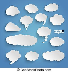 Clouds Set Blue Background