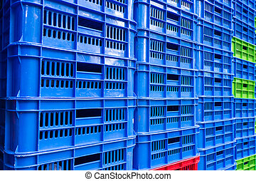 stacked empty food crates