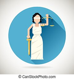 Themis Femida character with scales and sword icon law...