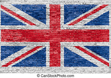 Union jack over brick wall