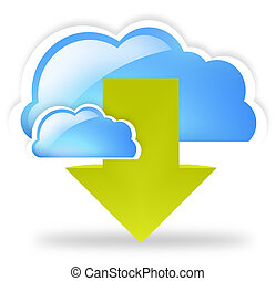 cloud up and download blue symbol symbol - cloud up and...