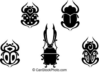 Set of beetles - Set of black beetles isolated on white for...