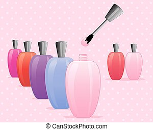 nail polish - an illustration of colorful bottles of nail...