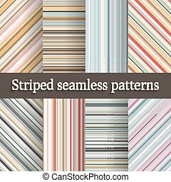 striped seamless patterns set in retro colors - vector...