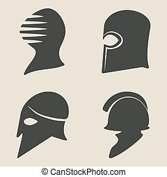 helmet icon set - vector illustration eps 8