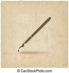 fountain pen with ink drop old background - vector...