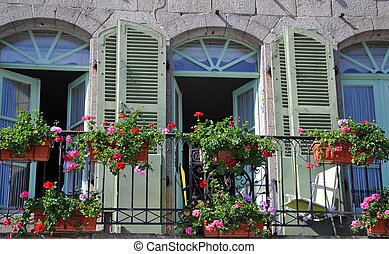 Balcony in France. - A beautiful balcony on a riverside...