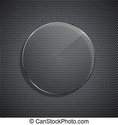 Vector modern glass circle on metal