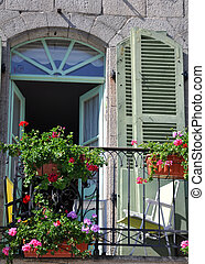 French Balcony - A beautiful balcony on a riverside house in...