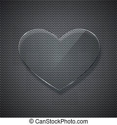 vector glass heart on metal grid background