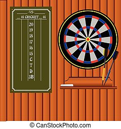 Set of darts with an information stand. Vector illustration.