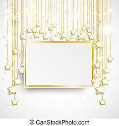 Golden Stars Golden Board Snowfall - Christmas star with...