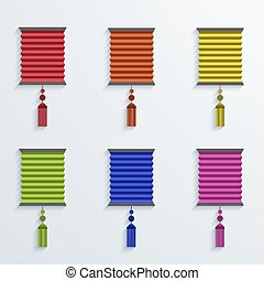 vector modern chinese Paper Lantern set on white background....