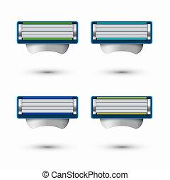 Vector modern razor icons set on white background 4 variants...
