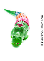Wind up crocodile toys on white background - Wind up...