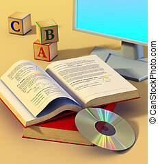 Multimedia learning - Two books, a cd rom and a monitor....