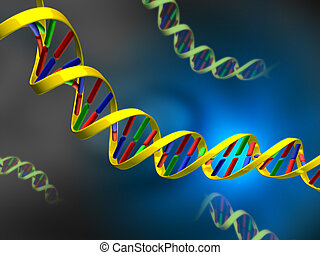 Dna strands on abstract background. Digital illustration.