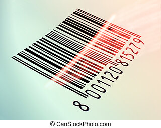 Barcode reading - Laser beam reading a printed barcode....
