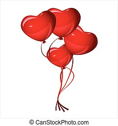 Bright red heart balloons, vector