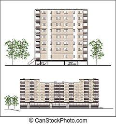 Facade-Habitation building,