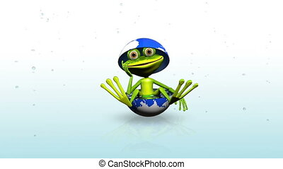 Frog in the rain - animation merry green frog in the globe...