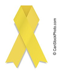 vector modern yellow ribbon on white background.
