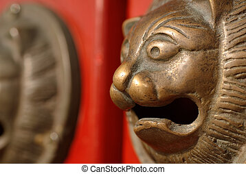 chinese decoration on the red door