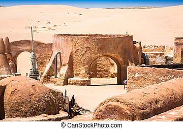 The houses from planet Tatouine - Star Wars film set,Nefta...