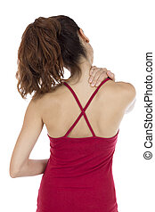 Woman with a tense neck and shoulders - Young woman touching...