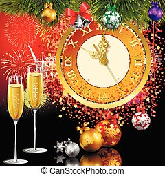 New Year clock - Time for the new year 5 minutes to the new...
