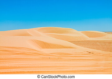 Sand dunes of Sahara desert near Ong Jemel in...