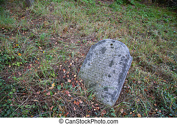 Old tombstone on a jewish cemetery